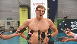 Australian swimmer Mack Horton speaks to the media at a uniform launch at the Sydney Olympic Park Aq