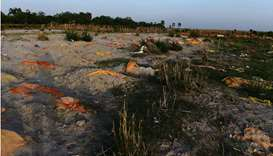 Bodies of suspected Covid-19 coronavirus victims are seen partially buried in the sand near a cremat