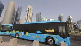 Karwa electric buses are seen in Doha (file).