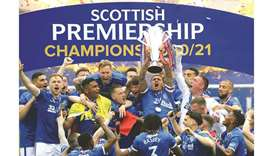 Rangers players celebrate after winning the Scottish Premiership. (Reuters)