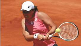 Poland's Iga Swiatek in action during her Italian Open quarter-final against Ukraine's Elina Svitoli