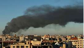 Smoke rises amid a flare-up of Israeli-Palestinian violence, in Gaza