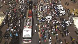Aerial view of the coffin of Sao Paulo's Mayor Bruno Covas on a firefighter truck during a convoy as