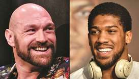 Boxers Tyson Fury (left) and Anthony Joshua. (AFP)