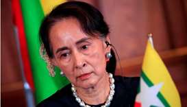 Myanmar's State Counsellor Aung San Suu Kyi attends the joint news conference of the Japan-Mekong Su