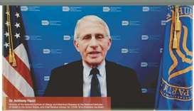 Dr Antony Fauci addressing the virtual graduation ceremony yesterday.