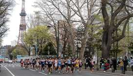 Athletes compete at the half-marathon race which doubles as a test event for the 2020 Tokyo Olympics