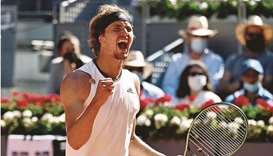 Germany's Alexander Zverev celebrates winning against Spain's Rafael Nadal in the quarter-finals of