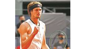 Germany's Alexander Zverev celebrates beating Austria's Dominic Thiem during Madrid Open semi-final