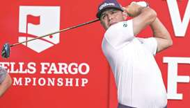 Gary Woodland hits a tee shot during the second round of the Wells Fargo Championship. (USA TODAY Sp