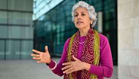 World Health Organization's chief scientist Soumya Swaminathan gestures during an interview with AFP