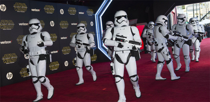 """The Storm Troopers attend the World Premiere of """"Star Wars: The Force Awakens"""", in Hollywood"""