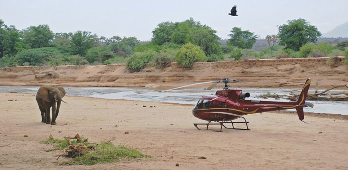 An elephant approaches a helicopter in Samburu game reserve.