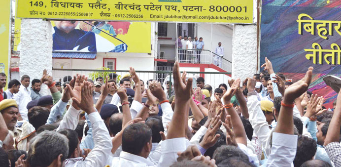 Angry JD-U workers stage a protest after their leaders were denied tickets to contest the Bihar asse