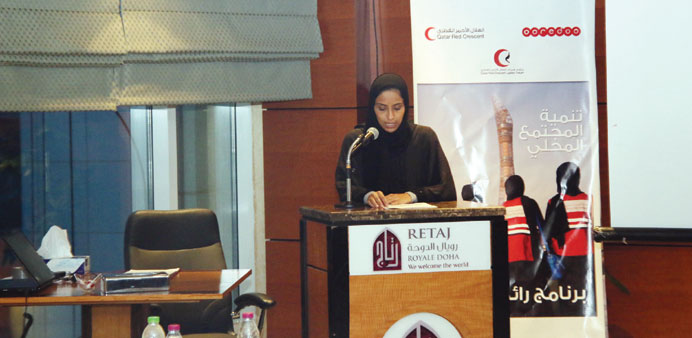 Ooredoo's Fatima al-Kuwari addressing the QRCS workshop.