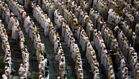 Devotees pray at the Grand Mosque during the holy fasting month of Ramadan in Makkah