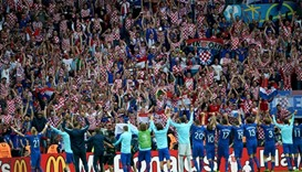 Croatia players celebrate their team's 1-0 win agianst Turkey during the Euro 2016