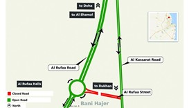 The closure is between Al Rufaa Roundabout and the junction of Al Rufaa Street with Al Kassarat Road