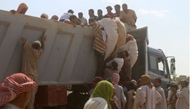 Displaced Iraqis who were evacuated from their villages by Iraqi government forces