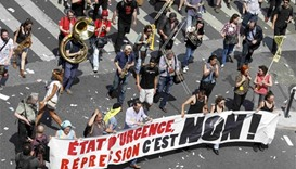 Paris protesters march under huge police presence