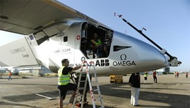 The sun-powered Solar Impulse 2 aircraft sits on the tarmac at Sevilla aiport