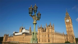 Big Ben and the Houses of Parliament are bathed in morning sunlight, as Britain votes to leave EU
