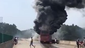 Bus fire in Hunan province, China