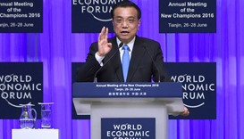China's Premier Li Keqiang speaks during the summer World Economic Forum in Tianjin