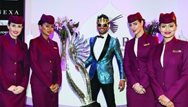 Actor Ranveer Singh pictured with the airline's cabin crew.