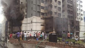 Fire in residential complex in Dhaka
