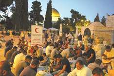 QRCS holds group Iftar banquets at Aqsa Mosque