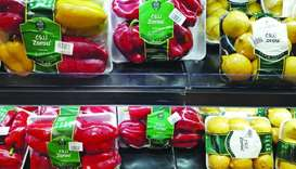 Supermarkets offer locally-produced vegetables.