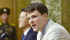 Otto Warmbier attends a new conference in Pyongyang North Korea (file photo)