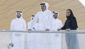 His Highness the Emir Sheikh Tamim bin Hamad al-Thani visiting the site of the upcoming National Mus