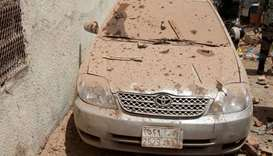 A damaged car is seen after a suicide bomber blew himself up in Mekkah, Saudi Arabia
