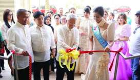 Philippine ambassador Alan L Timbayan leads the ribbon-cutting ceremony of the 119th Philippine Inde