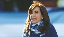 Former Argentine president Cristina Fernandez de Kirchner speaks at a rally in Buenos Aires.