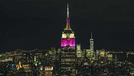 The Empire State Building in Qatar Airways colours
