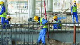 Labourers working on a construction site Doha