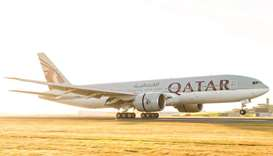 Qatar Airways' Boeing 777-200LR, which flies non-stop from Doha to Auckland.