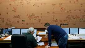 Dispatchers are seen inside the control room of Ukraine's National power company  Ukrenergo in Kiev,