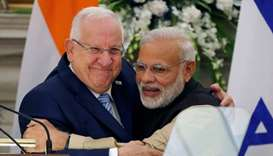 Israeli President Rivlin and India's PM Modi (file photo)