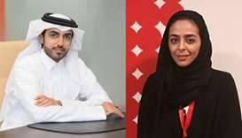 Nasser Abdulla al-Hajri, director of PR and Communication at AZF and Manar Khalifa al-Muraikhi, dire