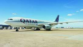 Qatar Airways Cargo freighter arrives at Heathrow