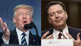 US President Donald Trump in Washington DC on June 8, 2017 (L) and former FBI Director James Comey i
