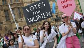 British women join living artwork to mark 100 years since vote