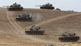 Turkish tanks taking up position
