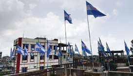 National flags of Argentina installed on a rooftop on the outskirts of Dhaka.