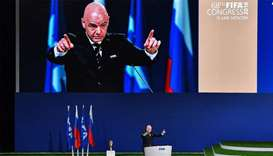 FIFA president Gianni Infantino gives a speech during the 68th FIFA Congress at the Expocentre in Mo