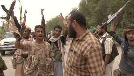 Yemeni pro-government forces gathering at the south of Hodeida airport